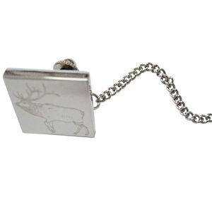 Silver Toned Etched Elk Tie Tack